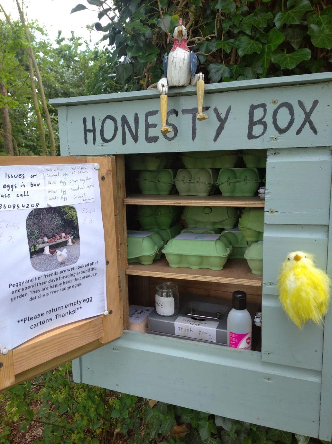 Honesty box, locul de unde oricine din comunitate își cumpără ouăle